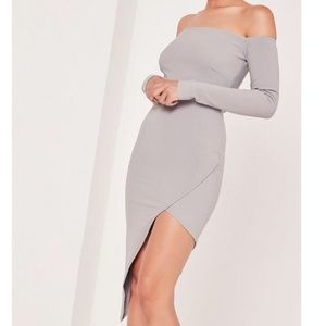 Missguided Ribbed Bardot Asymmetric Dress